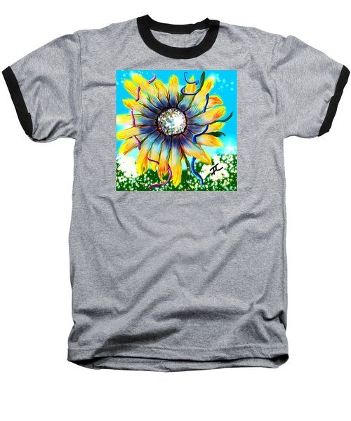Baseball T-Shirt featuring the digital art Abstract Flower by Darren Cannell