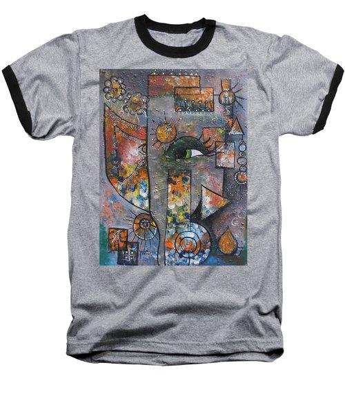 Baseball T-Shirt featuring the painting Abstract Ganesha  by Prerna Poojara