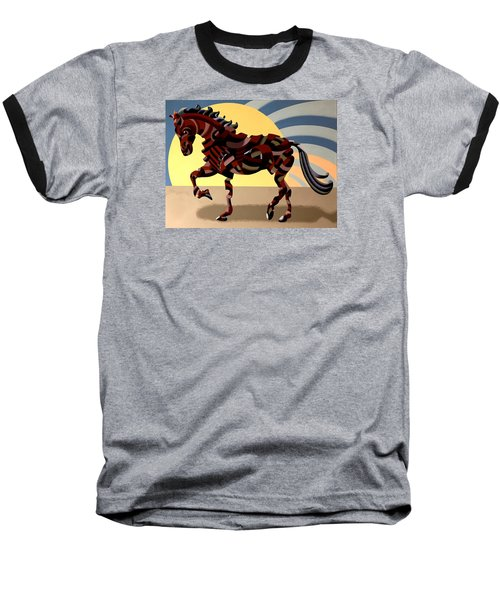 Baseball T-Shirt featuring the painting Abstract Geometric Futurist Horse by Mark Webster