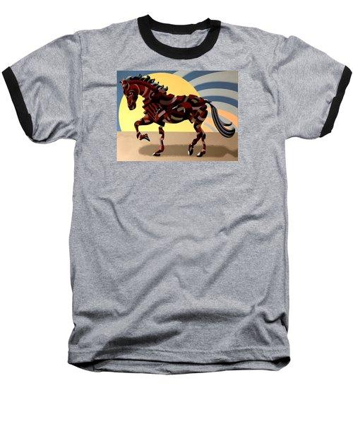 Abstract Geometric Futurist Horse Baseball T-Shirt by Mark Webster