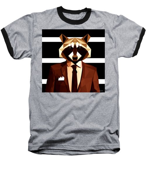 Abstract Geometric Raccoon Baseball T-Shirt by Gallini Design