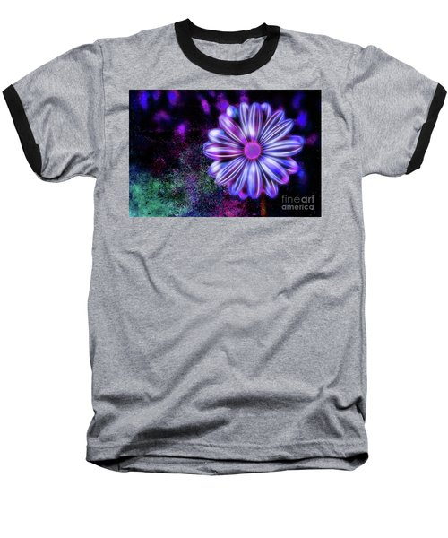 Abstract Glowing Purple And Blue Flower Baseball T-Shirt