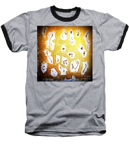 Baseball T-Shirt featuring the painting Bling Abstract Gold 1 by Richard W Linford