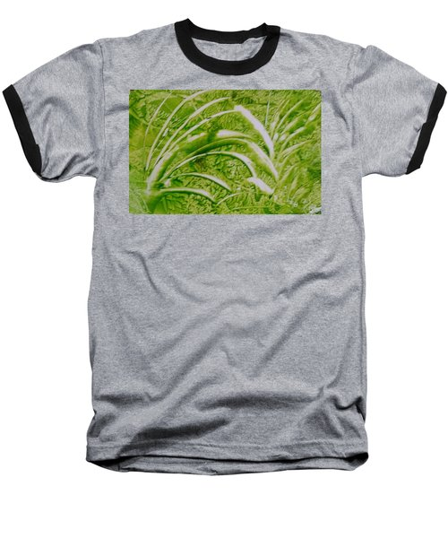 Abstract Green And White Leaves And Grass Baseball T-Shirt