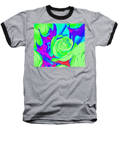 Abstract Green Roses Baseball T-Shirt