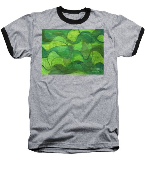 Abstract Green Wave Connection Baseball T-Shirt