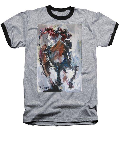 Abstract Horse Racing Painting Baseball T-Shirt by Robert Joyner