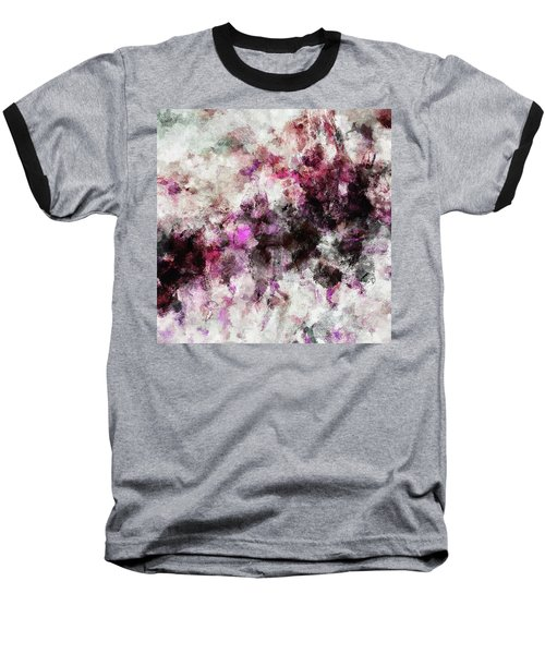 Baseball T-Shirt featuring the painting Abstract Landscape Painting In Purple And Pink Tones by Ayse Deniz