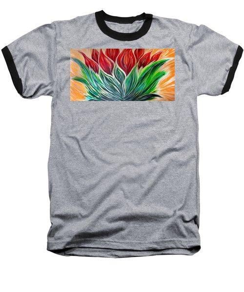 Abstract Lotus Baseball T-Shirt