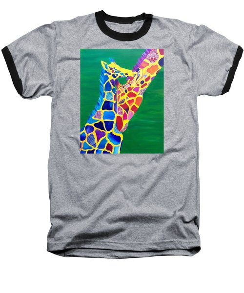 Abstract Mehndi Giraffe Mom And Baby Baseball T-Shirt