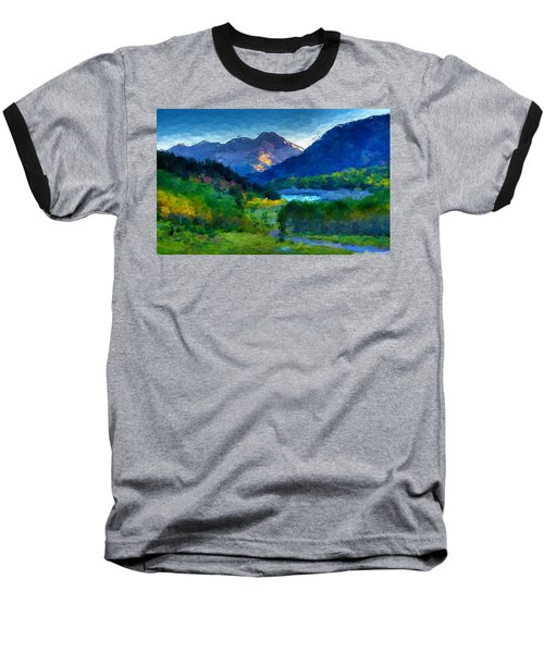 Abstract Mountain Vista  Baseball T-Shirt by Anthony Fishburne