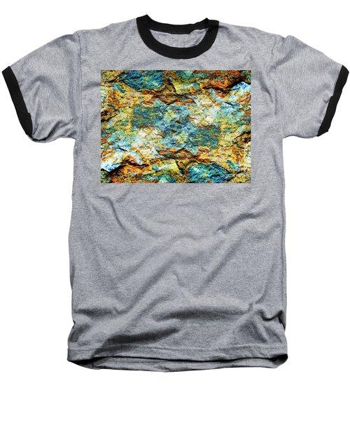 Abstract Nature Tropical Beach Rock Blue Yellow And Orange Macro Photo 472 Baseball T-Shirt