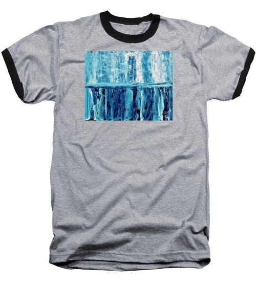 Abstract Niagra Falls Baseball T-Shirt by Marsha Heiken