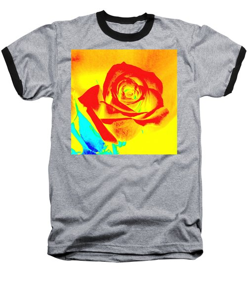 Single Orange Rose Abstract Baseball T-Shirt