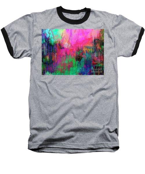 Abstract Painting 621 Pink Green Orange Blue Baseball T-Shirt