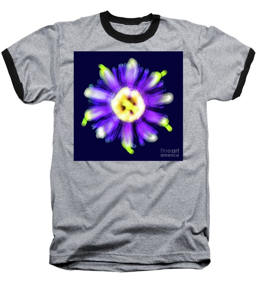 Abstract Passion Flower In Violet Blue And Green 002b Baseball T-Shirt