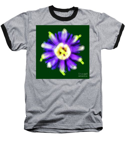 Abstract Passion Flower In Violet Blue And Green 002g Baseball T-Shirt