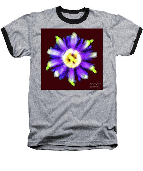 Abstract Passion Flower In Violet Blue And Green 002r Baseball T-Shirt