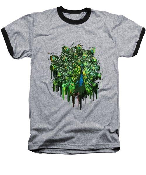 Abstract Peacock Acrylic Digital Painting Baseball T-Shirt by Georgeta Blanaru