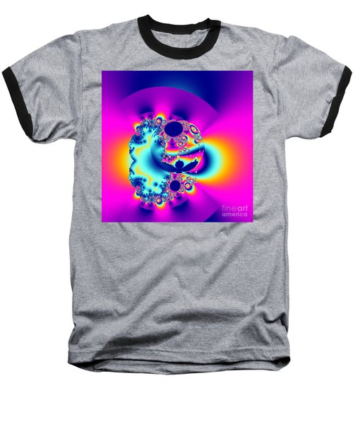 Abstract Pink And Turquoise Fractal Globe Baseball T-Shirt