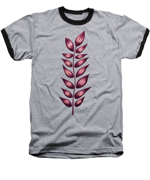 Abstract Plant With Pointy Leaves In Purple And Yellow Baseball T-Shirt