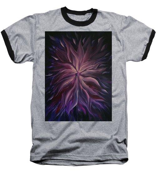 Abstract Purple Flower Baseball T-Shirt
