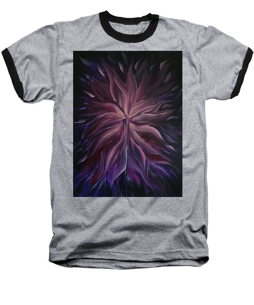 Abstract Purple Flower Baseball T-Shirt