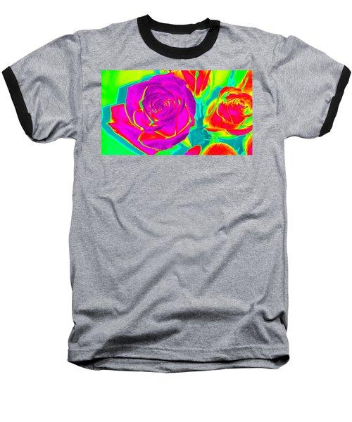 Abstract Roses Baseball T-Shirt by Karen J Shine
