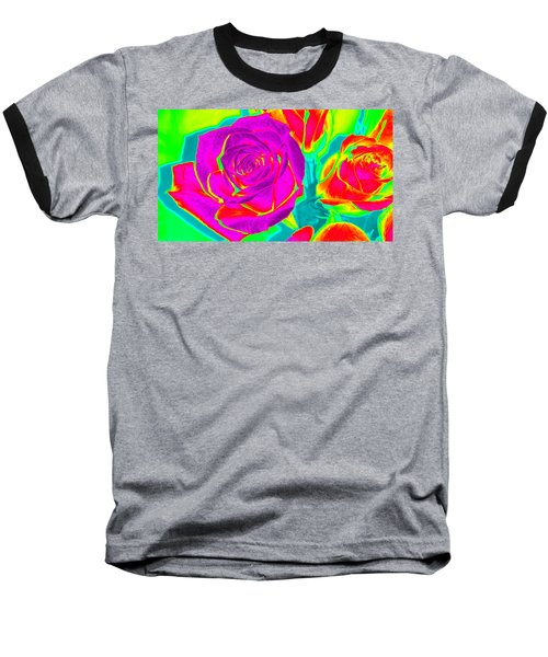 Blooming Roses Abstract Baseball T-Shirt