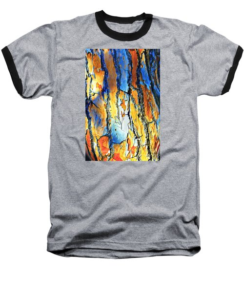 Abstract Saturated Tree Bark Baseball T-Shirt