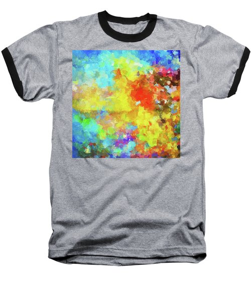 Baseball T-Shirt featuring the painting Abstract Seascape Painting With Vivid Colors by Ayse Deniz