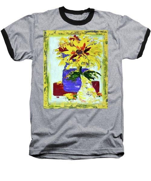 Abstract Sunflower Baseball T-Shirt by Lynda Cookson