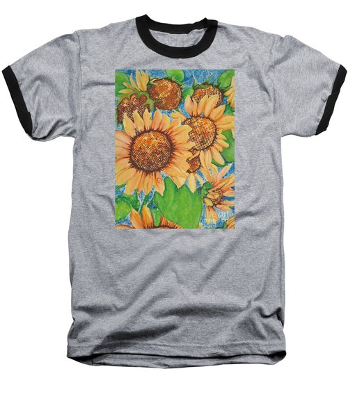 Baseball T-Shirt featuring the painting Abstract Sunflowers by Chrisann Ellis