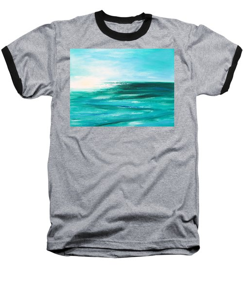 Abstract Sunset In Blue And Green 2 Baseball T-Shirt