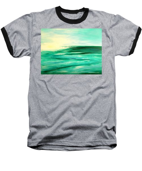 Abstract Sunset In Blue And Green Baseball T-Shirt