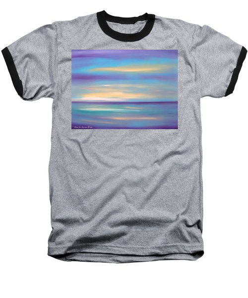 Abstract Sunset In Purple Blue And Yellow Baseball T-Shirt