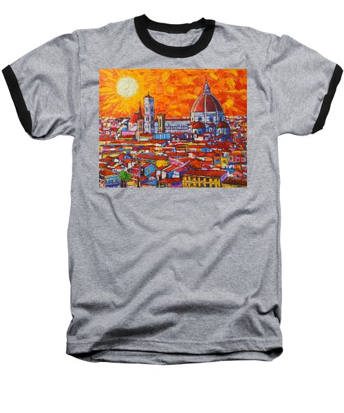Abstract Sunset Over Duomo In Florence Italy Baseball T-Shirt by Ana Maria Edulescu