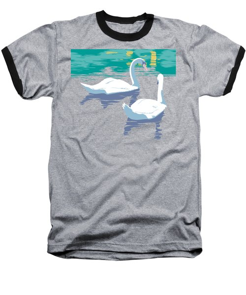 Abstract Swans Bird Lake Pop Art Nouveau Retro 80s 1980s Landscape Stylized Large Painting  Baseball T-Shirt