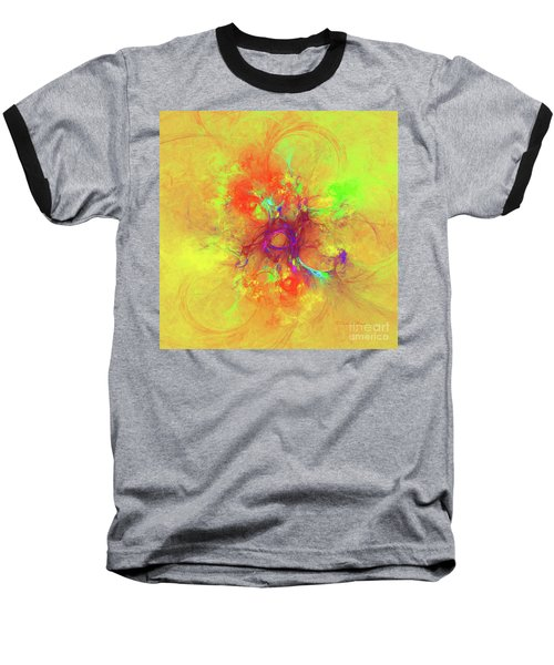 Baseball T-Shirt featuring the digital art Abstract With Yellow by Deborah Benoit