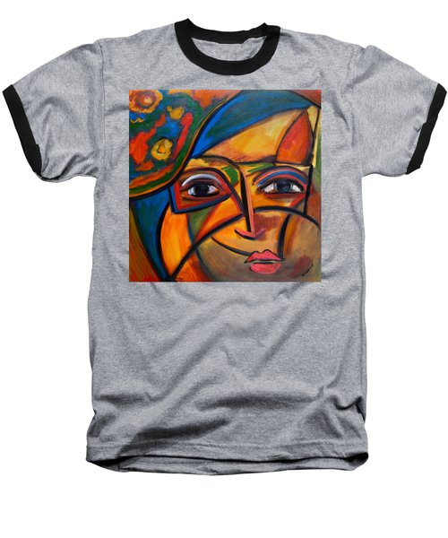 Abstract Woman With Flower Hat Baseball T-Shirt
