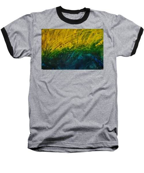 Abstract Yellow, Green With Dark Blue.   Baseball T-Shirt