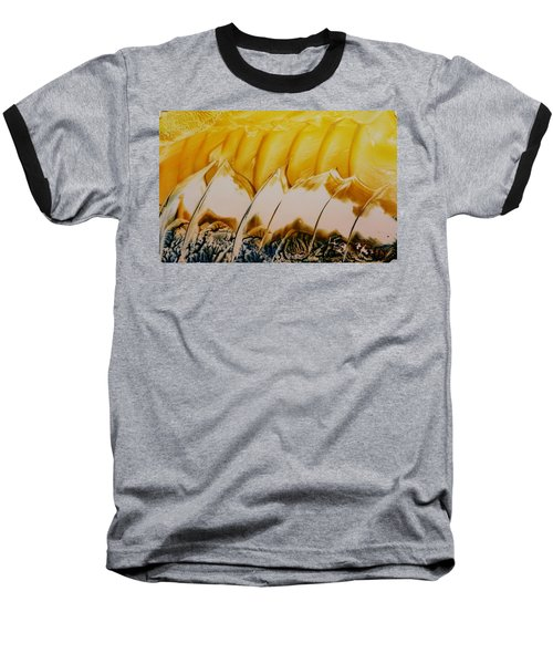 Abstract Yellow, White Waves And Sails Baseball T-Shirt