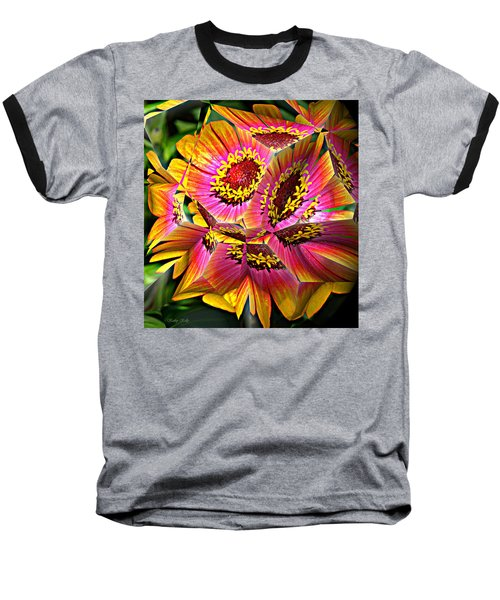 Abstract Yellow Flame Zinnia Baseball T-Shirt by Kathy Kelly