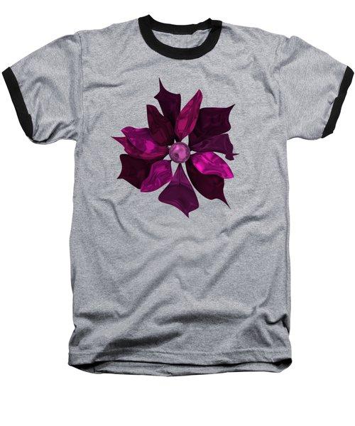 Abstrct Violet Flower Baseball T-Shirt