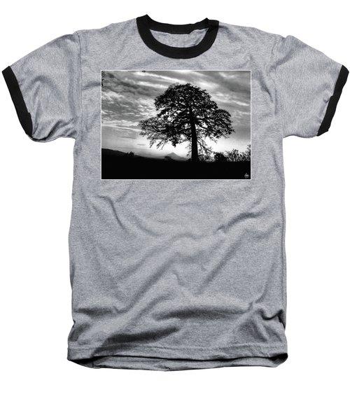 Acacia And Volcano Silhouetted Baseball T-Shirt