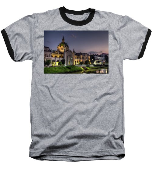 Academy Of Fine Arts, Sarajevo, Bosnia And Herzegovina At The Night Time Baseball T-Shirt by Elenarts - Elena Duvernay photo