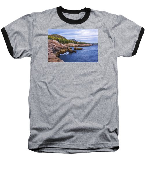 Baseball T-Shirt featuring the photograph Acadia's Coast by Chad Dutson