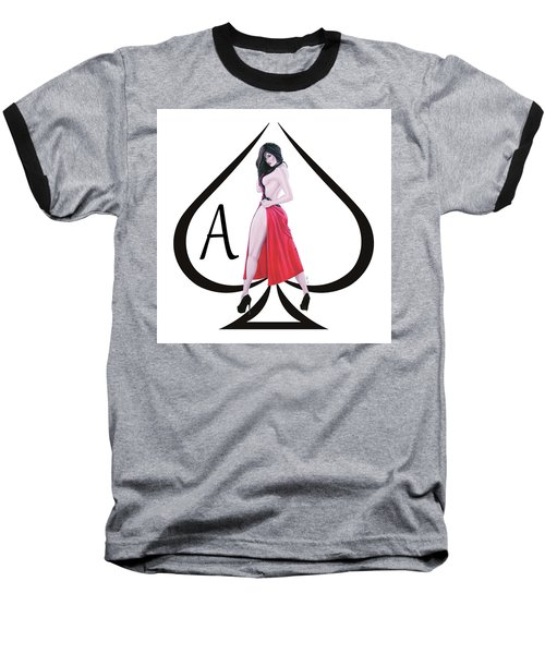 Baseball T-Shirt featuring the digital art Ace Of Spades3 by Joseph Ogle