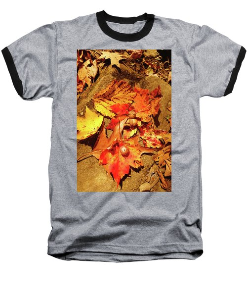 Baseball T-Shirt featuring the photograph Acorns Fall Maple Leaf by Meta Gatschenberger