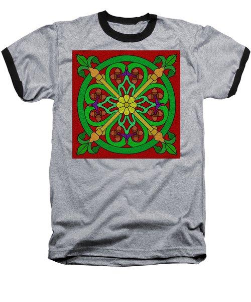 Acorns On Red Baseball T-Shirt by Curtis Koontz